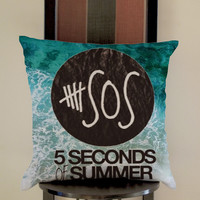 5 Second Of Summer Lyrics on beach Pillow, Pillow Case, Pillow Cover, 16 x 16 Inch One Side, 16 x 16 Inch Two Side, 18 x 18 Inch One Side, 18 x 18 Inch Two Side, 20 x 20 Inch One Side, 20 x 20 Inch Two Side