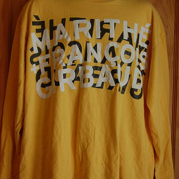 Vintage 90s Marithe & Francois Girbaud Yellow Long Sleeve Graphic T Shirt Mens Size XL