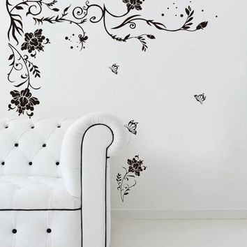 Black Flower vine butterfly PVC wall stickers home decor living room sofa wallpaper poster wall art decals modern decoration