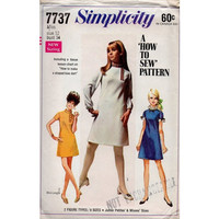 Simplicity Sewing Pattern 1960s Mod Retro Go Go Mini Dress A-line Asymmetrical High Neckline Mad Men Style Bust 34