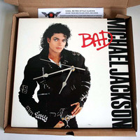 "Michael Jackson Vinyl Record Sleeve BAD CLOCK made from an Original recycled 12"" album Sleeve"