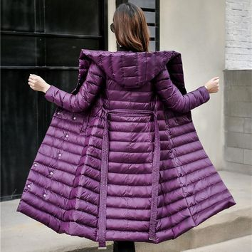 Down Jacket Female Vintage A line Overcoat Ultralight Winter Down Coat Women Long Warm Parka With Belt