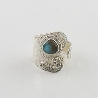 Labradorite Sterling Silver Adjustable Wrap Ring