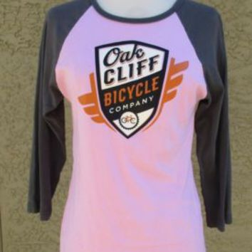 Baseball T-Shirt, American Apparel Pink Grey Sleeve Oak Cliff Bicycle Co Sz L