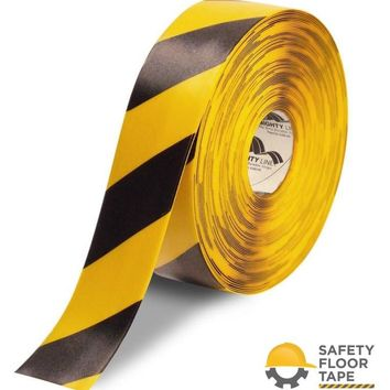 """3"""" Yellow Safety Floor Tape with Black Chevrons - 100' Roll"""