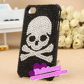 Bling Bling Cool iPhone case, iphone rhinestone cases, iphone 4 skull, Gothic iPhone 4S Case,iphone 5 case swarovski crystal skull A86