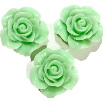 Mint flower resin cabochon 18mm / 1-5 pieces