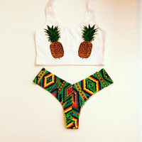 high waist bathing suits Pineapple print kiini bikini tie dye bikini 2017 high neck bikini crop top swimsuit biquinis fio dental
