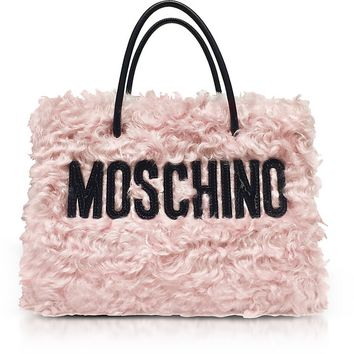 Moschino Pink Fleece Signature Tote Bag