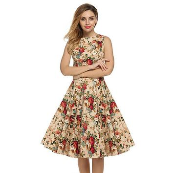 Floral Swing Summer Dress in Tan with Red, White, and Blue Flowers