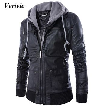 VERTVIE 2018 Men Hooded Faux Fur Leather Coats Male Autumn Homme Biker Slim Casaco Masculino PU Leather Jackets Jaqueta Couro