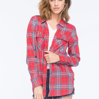Volcom Don't Mess Womens Flannel Shirt Red  In Sizes