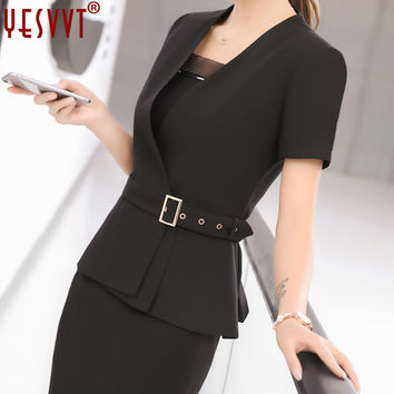 yevvt Women Blazer Set Two pieces Suits Summer Ladies Formal Skirt Suit Office Uniform Style Female Business Suit For Work Wear