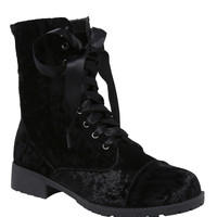 Black Crushed Velvet Combat Boots