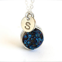 Cobalt Blue Druzy Personalized Initial Necklaces Wedding Bridesmaid Gifts