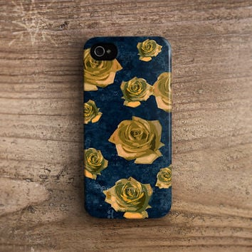 Fall iPhone case Navy iPhone 4 case yellow rose iPhone 4s case flower iPhone 5s case Pattern iPhone 5 case Samsung galaxy s4 case Etsy c229