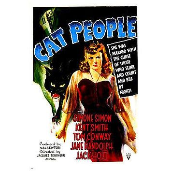 CAT PEOPLE movie poster SIMONE SIMON terror claws NIGHT ADVENTURE 24X36