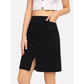 Button Front Split Denim Skirt