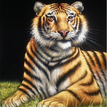 yellow tiger black velvet oil painting handpainted signed art