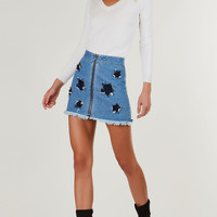 Shoot For The Stars Denim Skirt