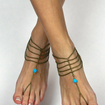 Bohemian Barefoot Sandals in Brass Chain