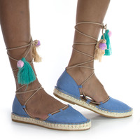 #Maldives26S by Bamboo, Blue Women's Espadrille Lace Tie Up Strappy Flat w/ Colorful Fiesta Tassel