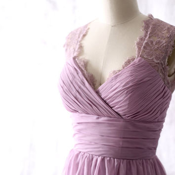 Light Purple Chiffon Long Bridesmaid dress, Wedding dress, Chiffon Lace dress, Party dress, Formal Dress, Long Prom dress