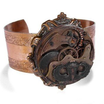 Steampunk Bracelet Cuff  Antique Copper GRUNGE by edmdesigns