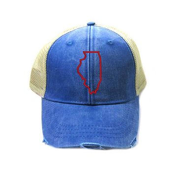 Illinois Hat - Distressed Snapback Trucker Hat - Illinois State Outline - Many Colors Available