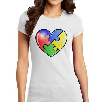 Big Puzzle Heart - Autism Awareness Juniors T-Shirt by TooLoud