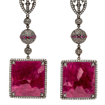 Diamond and Square Ruby Drop Earrings