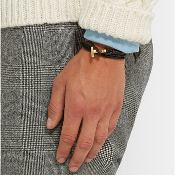 Tom Ford - Braided Leather and Gold-Plated Bracelet | MR PORTER