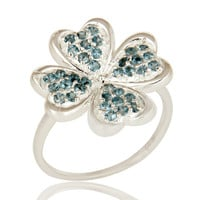 925 Sterling Silver London Blue Topaz Heart Design Cocktail Ring