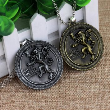 Hot Game Of Thrones House Lannister Emblem Necklaces Hear Me Roar Gold Lion Round Tag Pendants Men Women Choker Jewelry