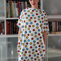 Handmade plus size all size one size oversized loose fitting clothing multicolored dots polka dot cotton dress/caftan/tunic/top/sun dress