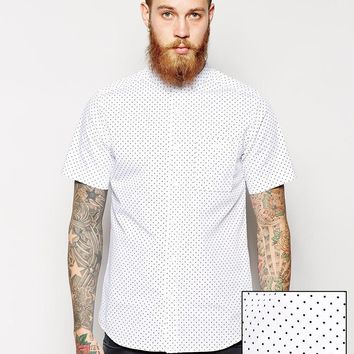 ASOS Shirt in Short Sleeve With Polka Dot Print and Grandad Collar