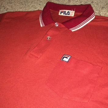 Sale!! Vintage 1980s FILA red Tennis Polo Shirt retro tee Made in ITALY