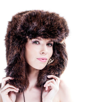 Oversized Russian Hat - Designer Ushanka Unisex - Winter Fashion Accessory - Hats - Chunky Fake Faux Fur - Soft - Fleece Lining - AW14/15
