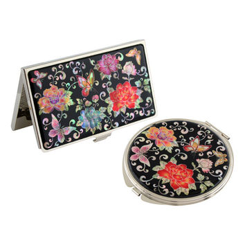Mother of Pearl Pink Flower Metal Compact Makeup Beauty Purse Handbag Mirror Business Credit Card Christmas Women Lady Gift Set