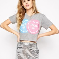 Ichiban Cropped T-Shirt With Me & You Dream On Valentines Print