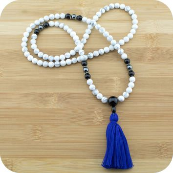 Howlite Mala with Black Onyx