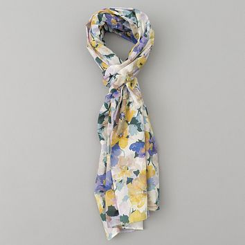 Lightweight Watercolor Floral Print Scarf, White