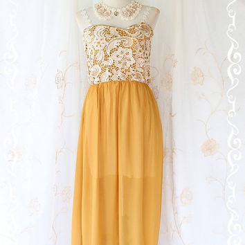 Lady And Floral - Maxi Dress Mustard With White Lace Strap And Strapless Maxi Dress Sweet Beautiful Gorgeous Long Dress