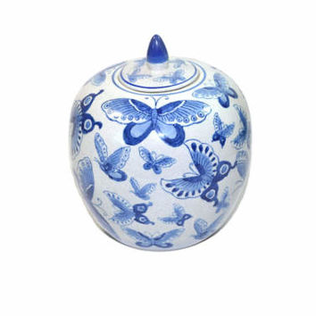 Vintage Blue and White Melon Jar Vintage Ginger Jar Butterfly Ginger Jar Blue and White Ceramic Jar Large Ginger Jar