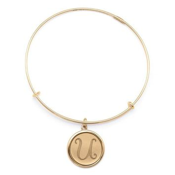 Alex and Ani Precious Initial U Charm Bangle - Gold Filled