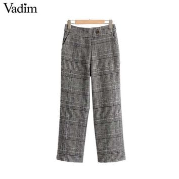 women thick basic plaid pants Houndstooth pockets zipper fly autumn warm ladies casual autumn trousers