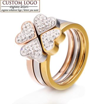 AZIZ BEKKAOUI 316L Stainless Steel Jewelry 3in1 Heart Rings For Women Nickle CZ Crystal Flower Engraved Name Rings