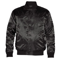 Starter New York Giants Satin Varsity Midweight Button-Up Jacket - Black