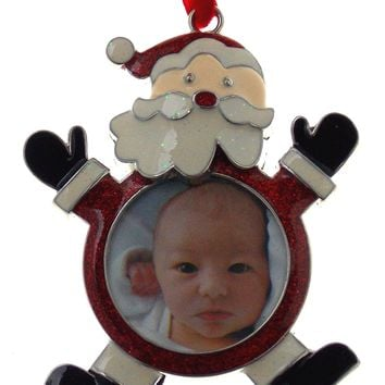 JC Penney Santa Christmas Ornament with Picture Frame Metal