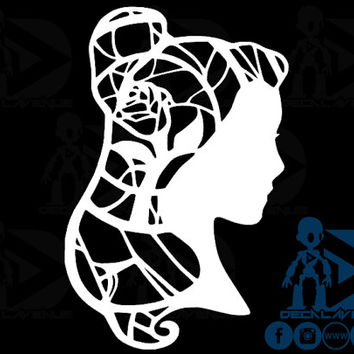 Beauty and the Beast Belle Hair Rose (Limited Esition) Disney Princess Vinyl Decal Sticker Car Laptop Phone Tablet Vinyl Decal Sticker Car L